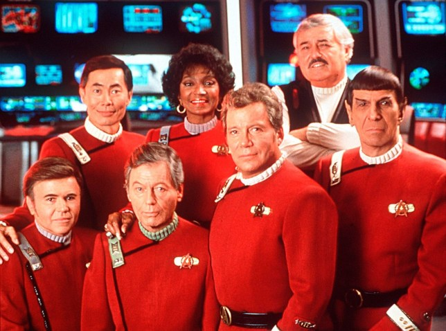 FILM : Star Trek VI : The Undiscovered Country' (1991) (l-r) Starring WALTER KOENIG, GEORGE TAKEI, DeFORREST KELLEY, NICHELLE NICHOLS, WILLIAM SHATNER, JAMES DOOHAN (died July 2005) and LEONARD NIMOY. Licensed by CHANNEL 5 BROADCASTING. Five Stills: 0207 550 5509. Free for editorial press and listings use in connection with the current broadcast of Channel 5 programmes only. This Image may only be reproduced with the prior written consent of Channel 5. Not for any form of advertising, internet use or in connection with the sale of any product.