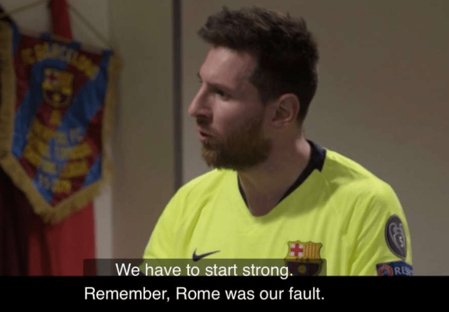 Lionel Messi speaks to his Barcelona team-mates before their game against Liverpool