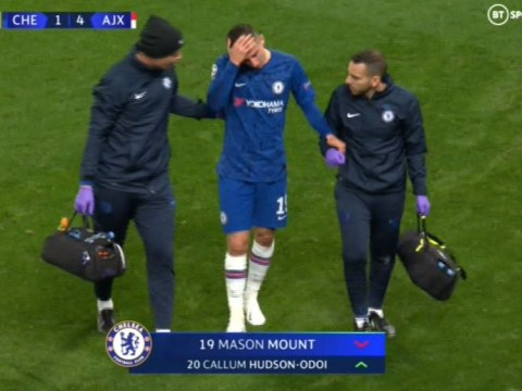 Mason Mount forced of with ankle injury during Chelsea vs Ajax