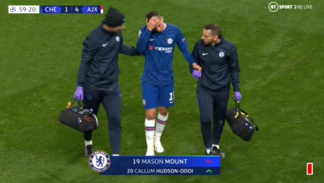 Mason Mount injured his ankle in Chelsea's Champions League clash with Ajax