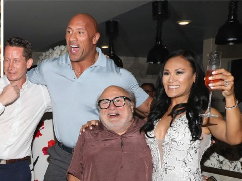 Dwayne Johnson and Danny DeVito crash wedding reception as they promote Jumanji: The Next Level