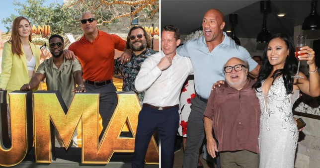Dwayne Johnson, Danny DeVito, Kevin Hart, Jack Black and Karen Gillian