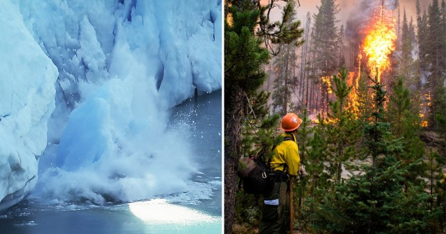 Picture of melting ice cap and a forest fire
