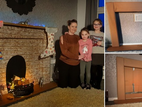 Mum creates £2 fireplace from cardboard boxes so kids can hang their stockings