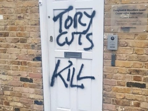 Iain Duncan Smith's office vandalised with 'Tory cuts kill' graffiti