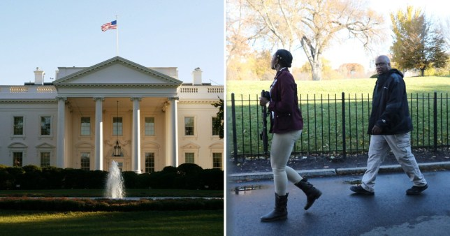 Photo of White House next to photo of Secret Service agents patrolling White House