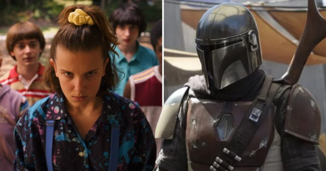 Caption: The Mandalorian already more in demand than Stranger Things (Picture: Netflix; Disney+)