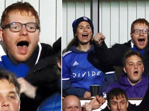 Ed Sheeran and wife Cherry Seaborn get animated as they cheer on beloved Ipswich Town