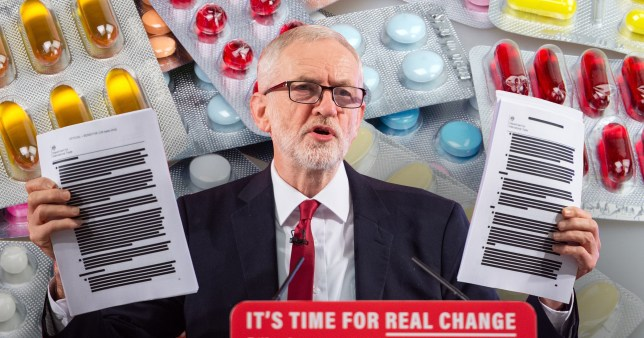 Jeremy Corbyn and backdrop of pharmaceutical drugs