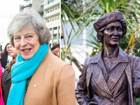 Theresa May under fire after unveiling statue of 'Nazi-sympathising' MP