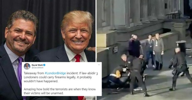 lawyer and campaign surrogate David Wohl with Donald Trump, a picture of the 2019 London Bridge terror attack and Wohl's tweet about the incident