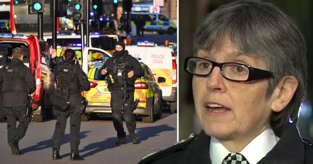 Scene from 2019 London Bridge terror attack and Met Police commissioner Cressida Dick