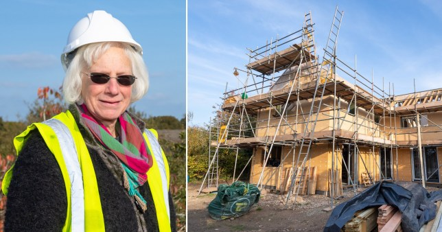 Architect Fran Bradshaw next to home she is building in Hickling, Norfolk