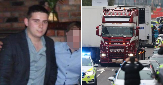 Northern Irish lorry driver Eamonn Harrison and picture of lorry where 39 dead migrants were found
