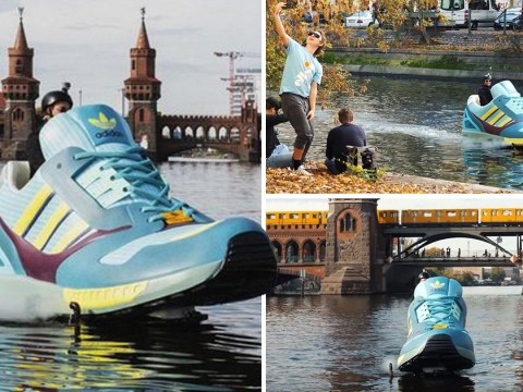 A giant sneaker jet ski launches the new Adidas shoe in Berlin