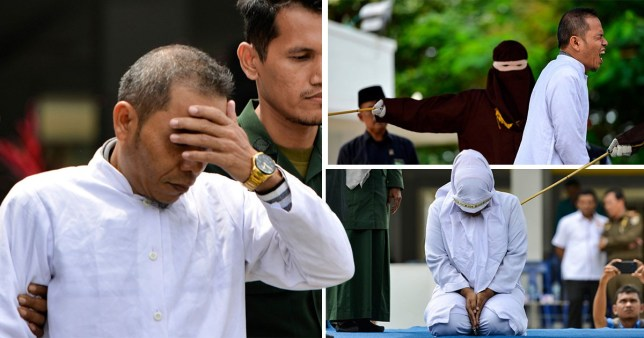 Compilation of Mukhlis bin Muhammad, who helped draft Indonesia's strict adultery laws, being flogged along with the woman with whom he had an affair