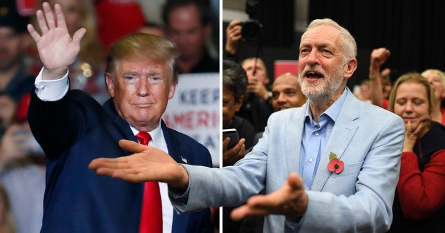 Donald Trump (left) next to picture of Jeremy Corbyn at 2019 General Election campaign