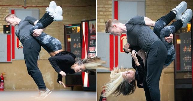 Caprice practicig the headbanger for Dancing on Ice debut