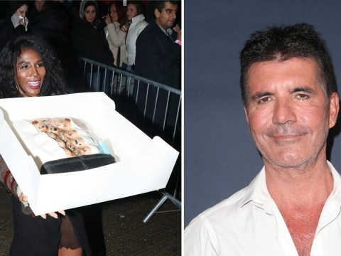 Sinitta surprises Simon Cowell with 60th birthday cake in the shape of his hairy torso and it's kind of gross