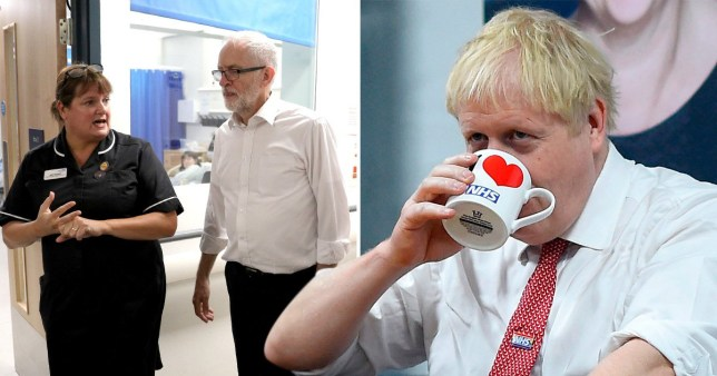 Compilation of Jeremy Corbyn and Boris Johnson visiting NHS hospitals