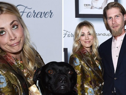 Kaley Cuoco cuddles up with pitbulls – and her husband Karl Cook – on the red carpet