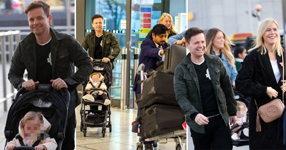Declan Donnelly and his wife and daughter at the airport