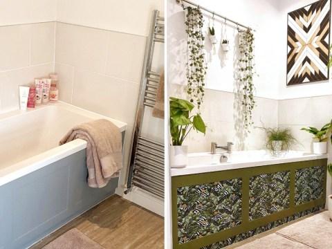 Woman transforms plain bathroom into plant paradise with £22 sticky back vinyl