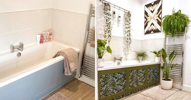 Woman transforms boring bathroom with a sheet of vinyl