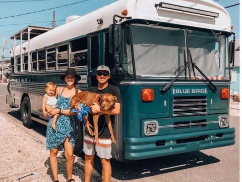 Couple pay off all their debts and move into a renovated bus to travel through North America