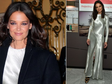 Katie Holmes is dripping in silver at benefit screening as she calls turning 40 'interesting'