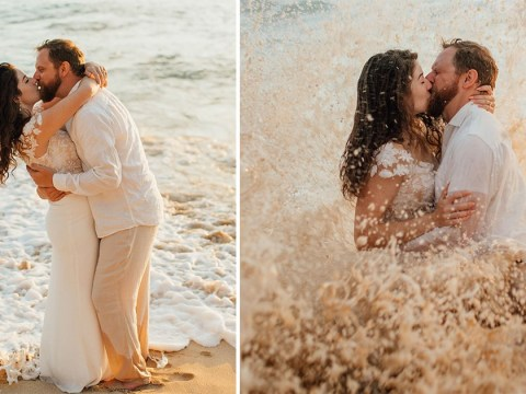 Bride accidentally trashes wedding dress when rogue wave hits during photoshoot
