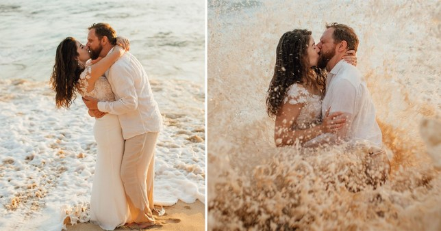 Before and after the wave hit Bekah and Tim in Hawaii