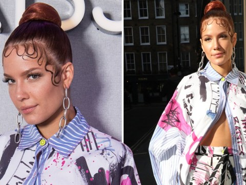 Halsey is giving us '90s vibes as she steps out in London in a graffiti-print and perfectly sculpted edges
