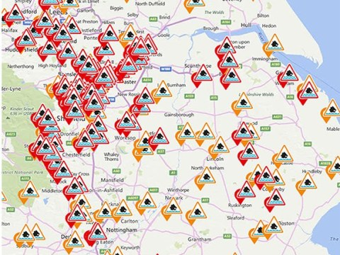 Where are there flood warnings in place in England?