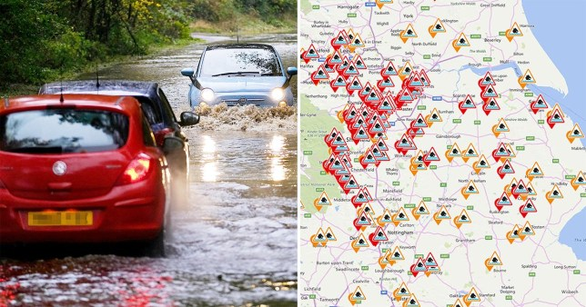 A flooded road next to a picture of a map of the UK with flood warnings in place