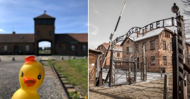 Travel blogger's picture of a rubber duck at Auschwitz 'is disrespectful'