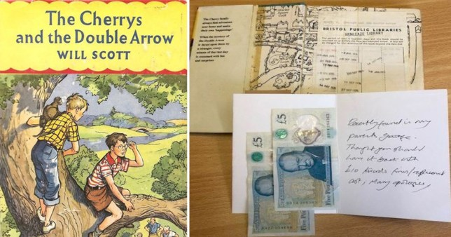 A copy of The Cherrys and the Double Arrow by Will Scott overdue since the 1970s returned to library in Bristol with apology note and £10