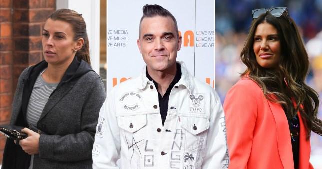 Robbie Williams, Coleen Rooney and Rebekah Vardy