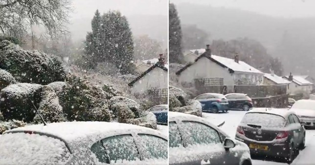It snows heavily on the Welsh hills