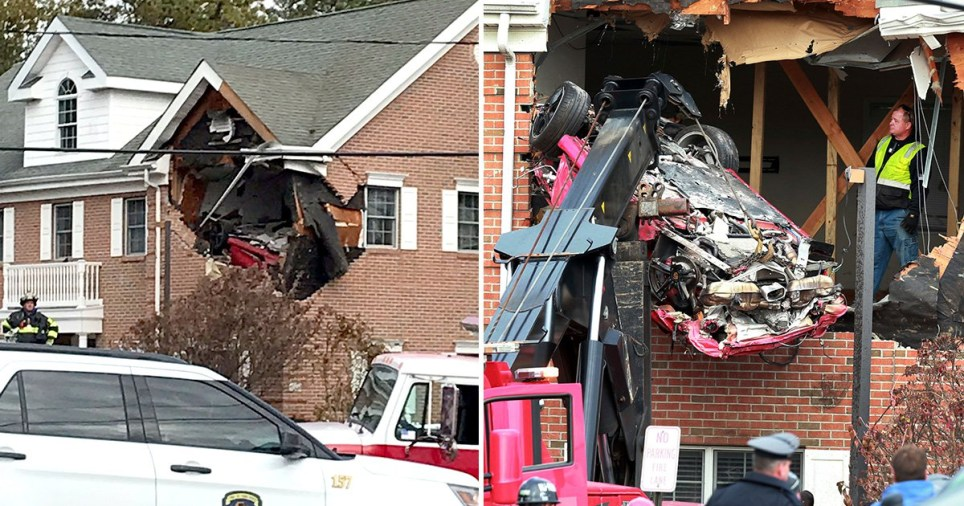 Two dead after Porsche was driven so fast it took off and smashed into upstairs room