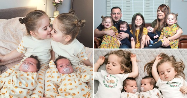 Gina Shelton and Olie Lloyd with their two sets of twins and daughter phoebe