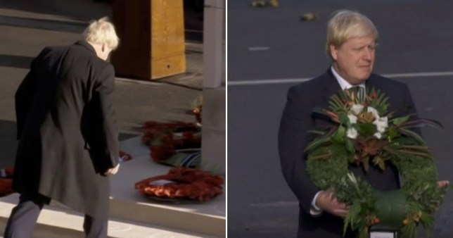 Clip of Boris Johnson laying a wreath at the cenotaph in 2019 and one of him doing the same in 2016