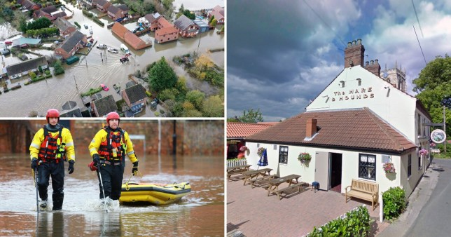 Compilation of flooding in Fishlake, Doncaster, south Yorkshire and the Hare and Hounds pub