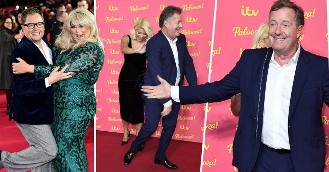 Holly Willoughby isn't letting Piers Morgan steal her moment as Gemma Collins gets cosy with Alan Carr on entertaining ITV Palooza red carpet