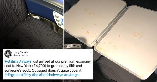 BA passengers find crusty sock on seat during £4,700 flight