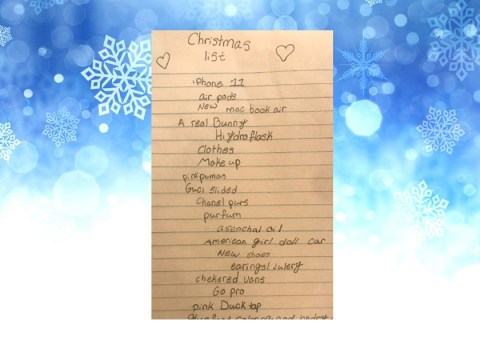 10-year-old girl writes hilarious Christmas wish list asking for 'asenchal oil' and '4,000 dollars'