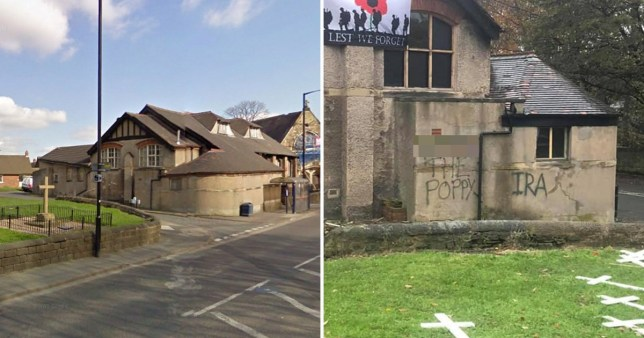 'F**k the poppy' graffiti sprayed on church hall next to Field of Remembrance