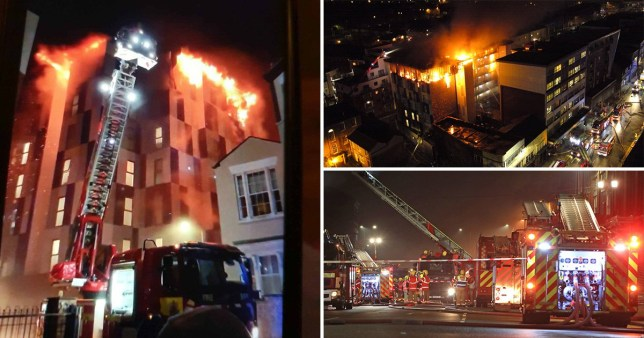 Images of fire at student accommodation known as The Cube in Bolton Greater Manchester