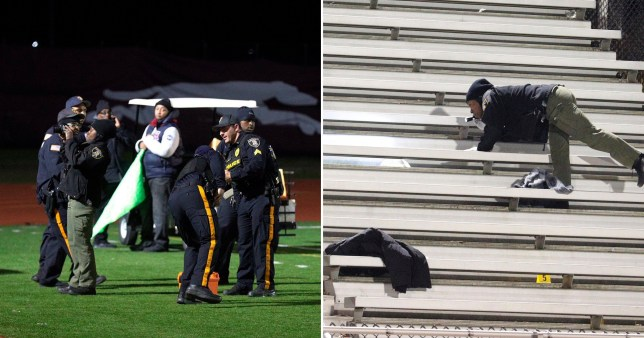 Comp image showing scenes from New Jersey football shooting