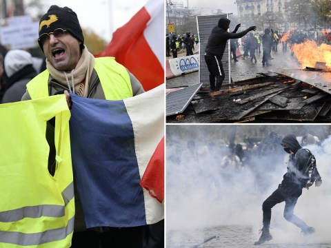 Tear gas and water cannon fired on Paris protesters marking yellow vest anniversary